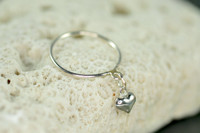 sterling silver dangle ring with heart charm