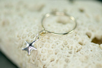 sterling silver dangle ring with star charm | muyinjewelry.com