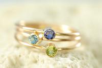 solid 14k birthstone ring, gemstone ring, mother's ring | muyinjewelry.com