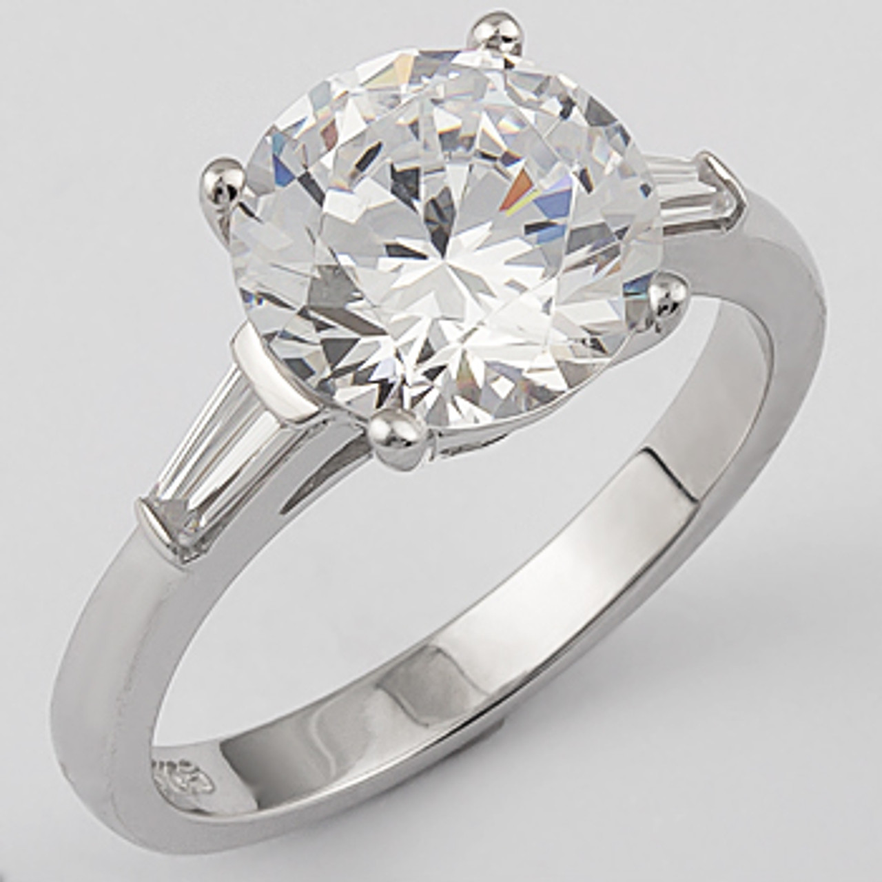 round cubic zirconia engagement solitaire baguette ring - Cubic Zirconia Wedding Rings