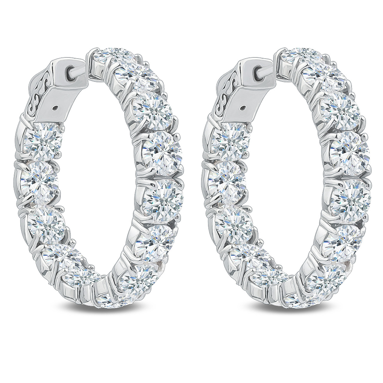 Bellamy Vault Lock Inside Out Rounds Cz Earring Hoops 13 0 Carats Total
