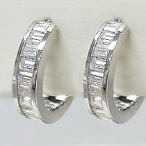 Elle Channel Baguette CZ Huggie Hoop Earrings, 1.5 Ct TW