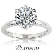 Platinum CZ Round Classic Solitaire Engagement Ring