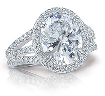 Oval Madeline Halo CZ Ring with Twin Prongs and Split Shank