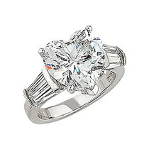 5.5 Carat Heart CZ Double Baguette Solitaire Engagement Ring