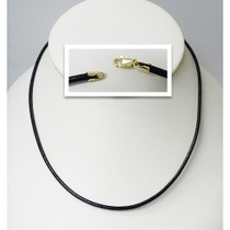Raven Black Leather Neck Cord with Solid 14K Gold Lobster Clasp