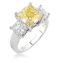 Cushion Cut with Princess Sides Three Stone CZ Ring, 6.0 Ct TW