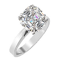 Asscher Cut Cubic Zirconia Cathedral Solitaire Engagement Ring