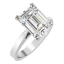 Classic Emerald Cut CZ Cathedral Solitaire Engagement Ring