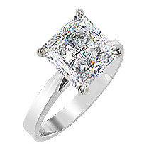 Princess Cut CZ Cathedral Solitaire Engagement Ring