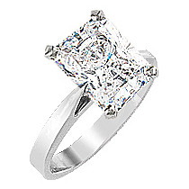 Starburst Emerald Cut CZ Cathedral Solitaire Engagement Ring