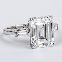 Emerald Step Cut CZ Baguette Solitaire Engagement Ring