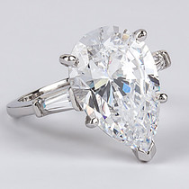Pear Cubic Zirconia Engagement Baguette Solitaire Ring