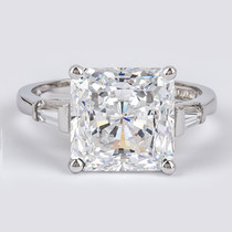 Princess Cut Cubic Zirconia Baguette Solitaire Engagement Ring