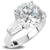 Round Double Baguette Cubic Zirconia Solitaire Engagement Ring