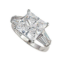 Princess Cut CZ with Double Baguettes Solitaire Engagement Ring
