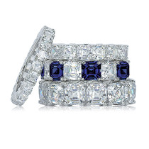 Asscher Prong Set Cubic Zirconia Eternity Band