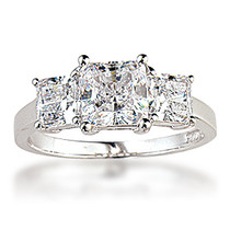 Celia Princess Cut Cubic Zirconia Three Stone Ring