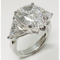 Pear Cut Center Three Stone CZ Trillion Ring
