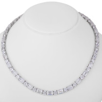 Emerald Cut with Rounds CZ Evangeline Necklace, 85.25 Ct TW