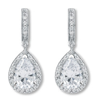 Anastasia Huggie Top Pear Drop Halo Earrings, 4.37 Ct T.W.