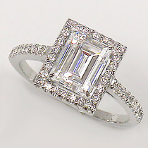 Esmé Emerald Cut CZ Halo Solitaire Ring
