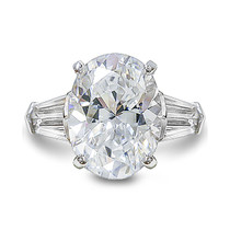 Oval Double Baguette Cubic Zirconia Solitaire Engagement Ring