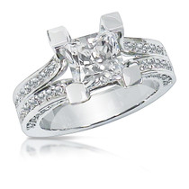Zinnia 1.5 Carat Princess Cut Open Shank Solitaire CZ Ring