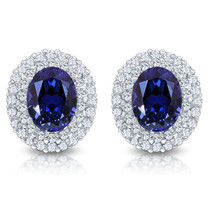 Nova Oval with Rounds Halo Cluster Earrings, 4.25 Carats T.W.