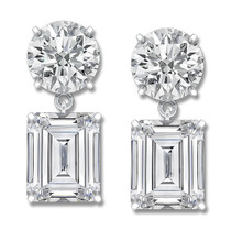 Leila Round & Emerald Cut CZ Drop Earrings, 12.0 Ct TW