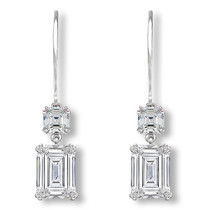 Lana Asscher & Emerald Cut CZ Dangle Leverback Eurowire Earrings
