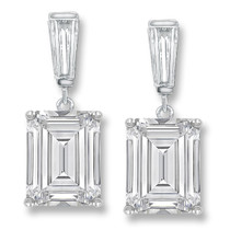Bijou Baguette Top with Emerald Cut Drop Cubic Zirconia Earrings