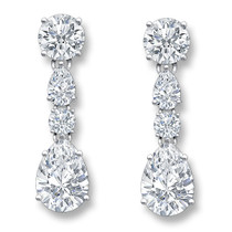 Penelope Rounds & Pears Drop Cubic Zirconia Earrings, 6.86 Ct TW