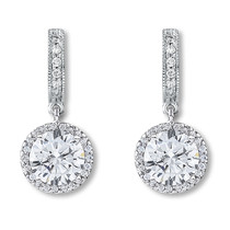 Anastasia Huggie Top Round Drop Halo Earrings, 4.36 Ct T.W.