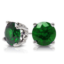 Round Green Emerald Stud Earrings with Scroll Setting