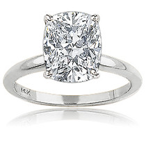 Elongated Cushion Cut CZ Classic Solitaire Engagement Ring