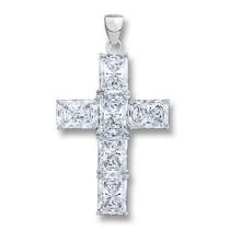Epiphany CZ Starbust Emerald Cut Cross Pendant, 6.0 Ct TW