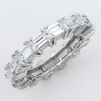 Emerald Cut Sideways Set CZ Eternity Band