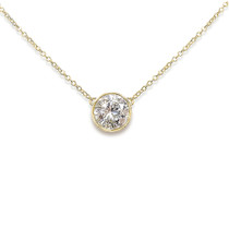 Bella Round Cubic Zirconia Fixed Bezel Pendant Necklace