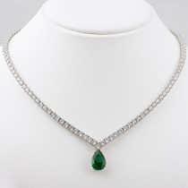 "Vanessa ""V"" Shaped CZ Tennis Necklace with Optional Drop"