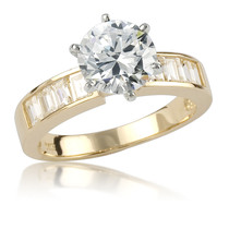 Cynthia Round with Baguettes Cubic Zirconia Engagement Ring