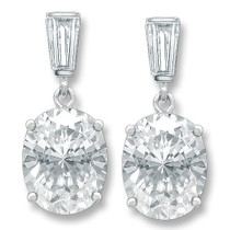 Bijou Baguette Top with Oval Drop Cubic Zirconia Earrings