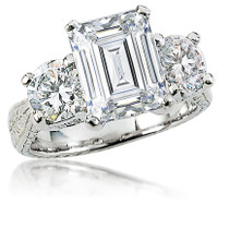 Geneva Emerald Cut & Rounds Three Stone Estate Style CZ Ring