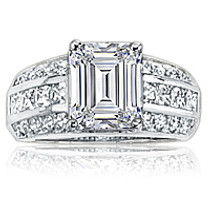 Gwen Emerald Cut with Channel Princess & Pave Rounds CZ Ring
