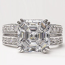 Adelle Asscher Open Band CZ Engagement Ring, 5.6 Ct TW