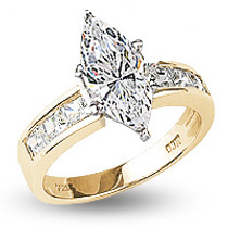 Quinn Marquise with Princess Sides Cubic Zirconia Solitaire Ring
