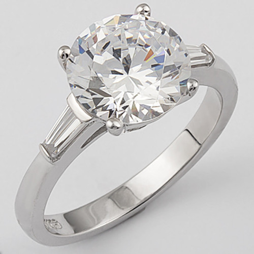 Charming Round Cubic Zirconia Engagement Solitaire Baguette Ring