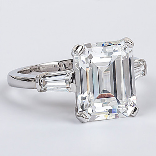 Emerald Step Cut CZ Baguette Solitaire Engagement Ring