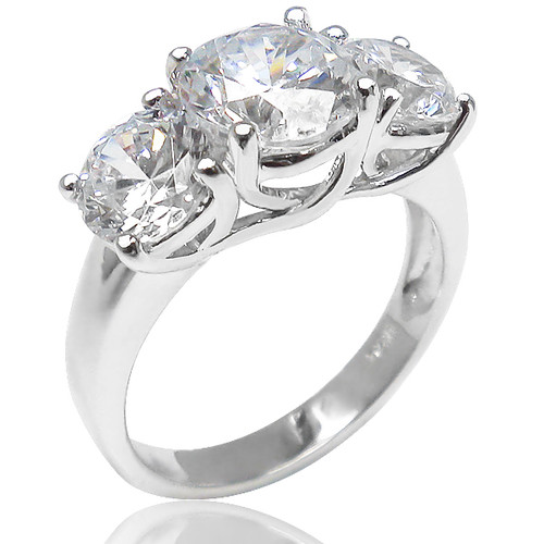 Arina Rounds with Cross Basket CZ Three Stone Ring