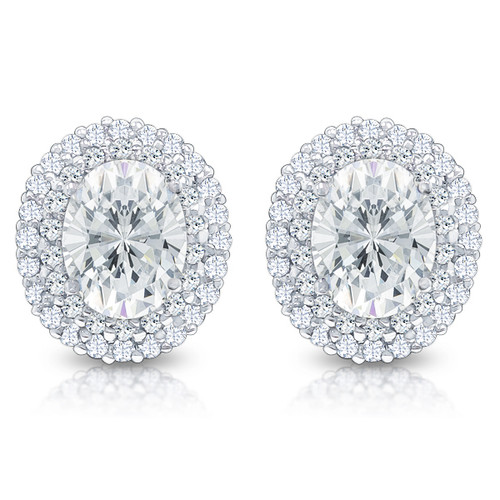 Nova Oval With Rounds Halo Cluster Earrings Mystique Of